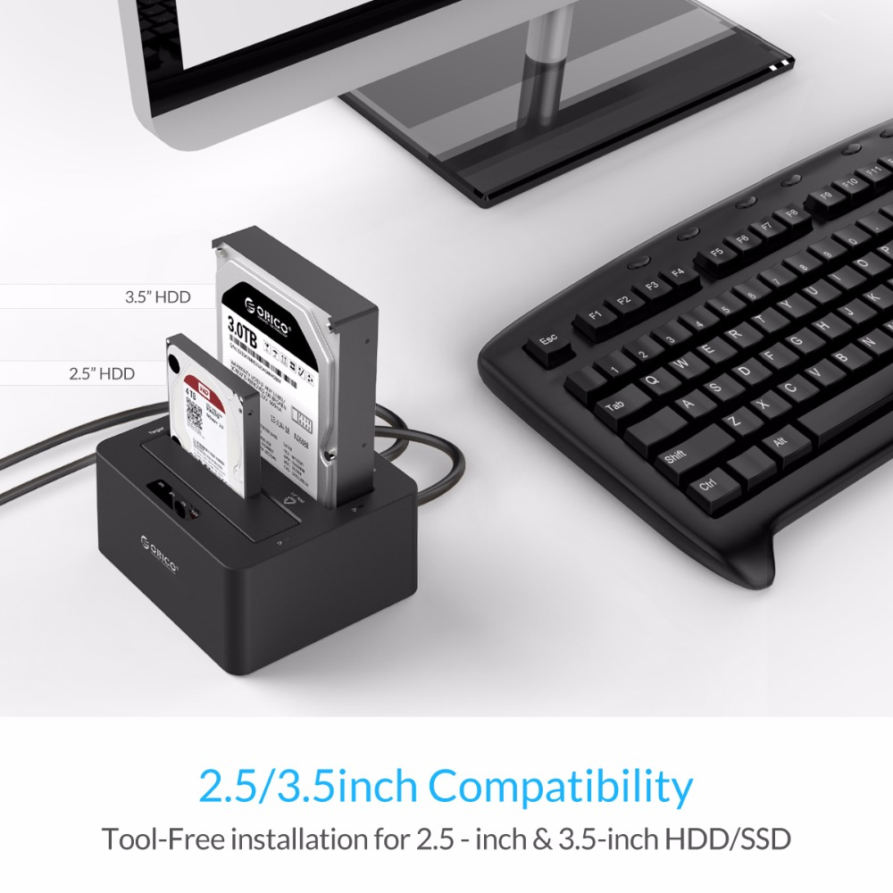 ORICO 6629US3-C 2 Bay SATA à USB3.0 Externe Disque Dur Station D'accueil pour 2.5/3.5HDD avec Duplicateur/Clone fonction-Noir - 2