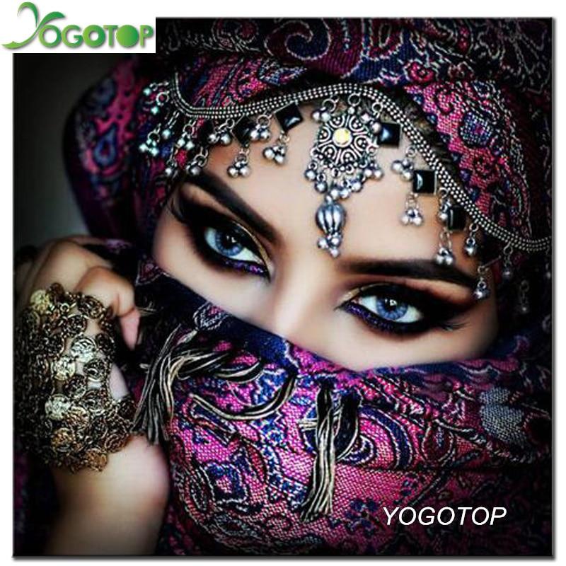 YOGOTOP DIY Diamond Painting Cross Stitch Home Decor masked beauty eyes Diamond Mosaic Pattern Square Diamond Embroidery ZB900