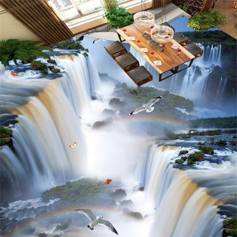 Image 5 - wellyu Custom flooring painting 3d murals cliff waterfall bird bathroom kitchen walkway 3D floor stickers living room wallpaperWallpapers   -