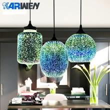 KARWEN современные 3D Красочные подвесные стеклянные тени подвесные светильники Скандинавское Звездное E27 Светодиодный светильник подвесной промышленного назначения для ресторана