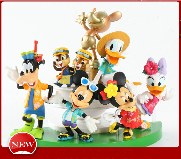 Disney 7pcs/set Toys 3-6cm Action Figure Toy Mickey Minnie Dolls Finger Model Decoration Gift for Childrens Birthday Doll Gifts 10pcs lot cartoon animal finger puppet finger toy finger doll baby dolls baby toys animal doll