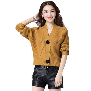 New Spring Autumn Knitted Cardigans Sweater Coat Korean Short Batwing Sleeve V-Neck Sweater Women Loose Cardigans Sweater YP1075 фото