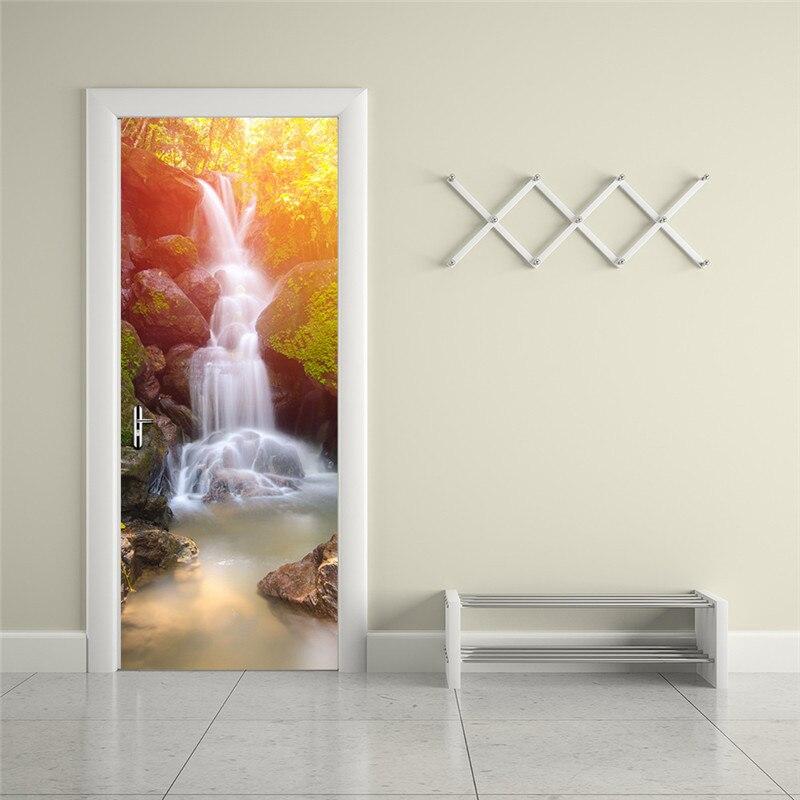 """Image 5 - Вишневый цветок водопад бульвар дверь настенная наклейки на обои виниловые Съемные наклейки для домашние украшения для комнаты 30,3x78,7""""-in Настенные наклейки from Дом и животные"""
