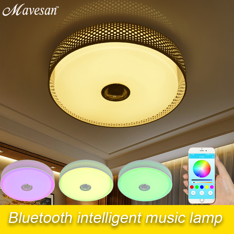 Smartphone controlled Led Ceiling Light Lamp with Bluetooth sound speaker & Music rgb colorful Led Indoor lighting 45w music sound controlled led rgb optical fiber light engine with 20key remote