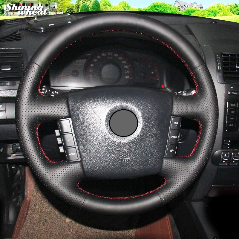 Shining wheat Hand-stitched Black Leather Car Steering Wheel Cover for Kia Borrego 2008-2015