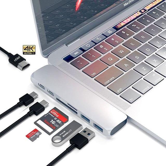 EASYA Dual Ports USB C Hub To HDMI with TF SD Card Reader Hub 3.0 PD Power Type C Hub Dock for MacBook Pro/Air 2018 2019 USB-C