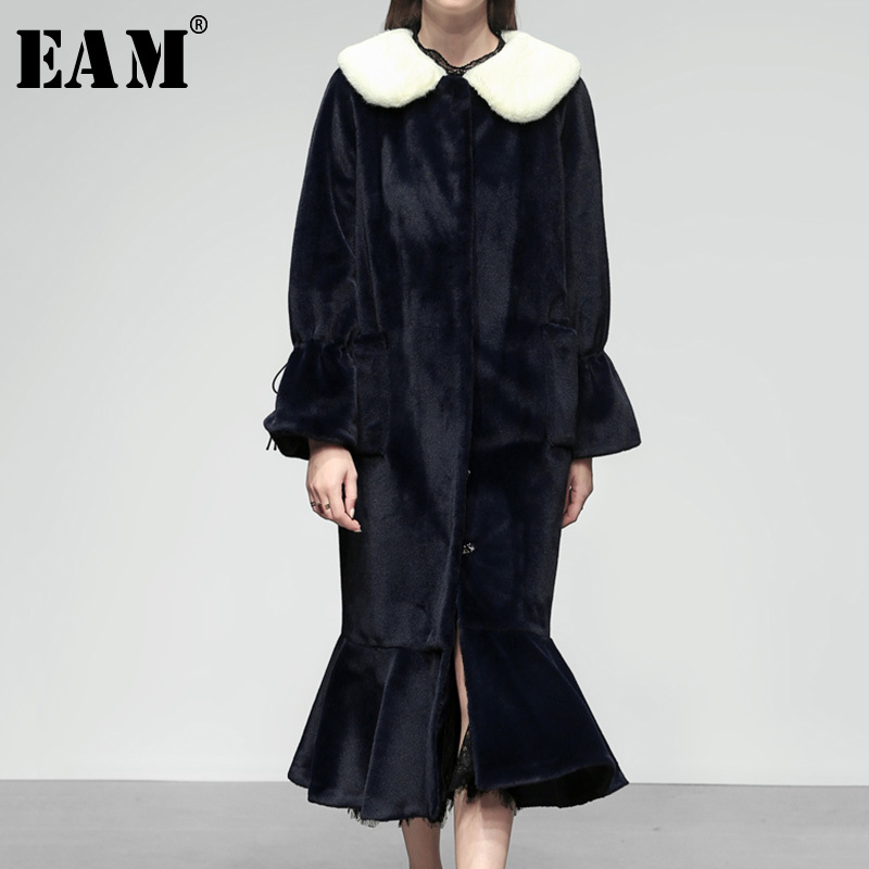 5dfd73327f650 EAM-2019-Printemps-Hiver-Femme-Marine-Bleu-Long-Flare-Manches-Enlev-Blanc-Col- De-Fourrure.jpg