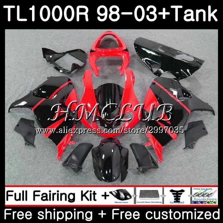 +tank For Suzuki Tl1000r 1998 1999 2000 2001 2002 2003 38hc.0 Tl1000 R Tl 1000 R 1000r 98 99 00 01 02 03 Fairings New Red Black Protective Gear Motorcycle Accessories & Parts