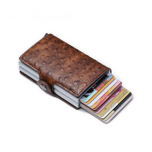 BISI GORO 2019 RFID Wallet Business Credit Card Holder Fashion Men And Women Metal PU Leather Travel Dropshipping