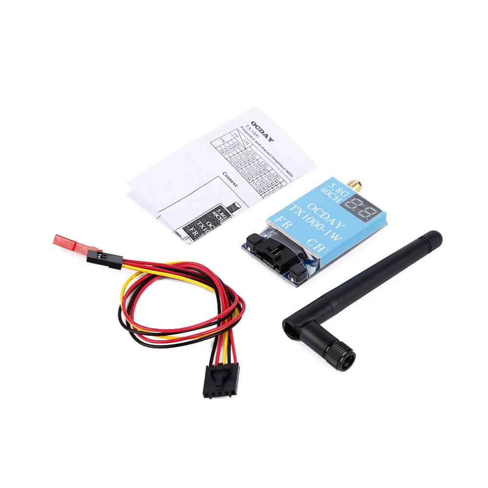 1pcs FPV 5.8G 40CH TX1000 1000MW 7-26V Wireless AV Image Transmitter for OCDAY askent s 7 1 tx