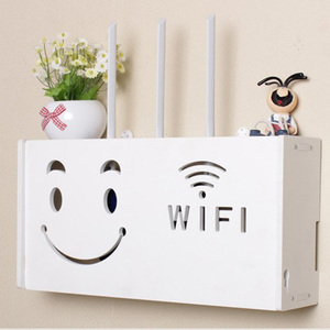 Smiley Face White Wood-plastic Board Wireless Wifi Router Organizer For Home Office Store Cable Storage Box Small Medium