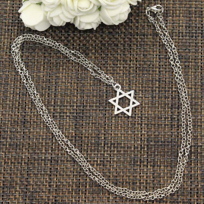 Nova moda pingente estrela de david escudo gargantilha charme curto longo diy colar preço de fábrica jóias artesanais