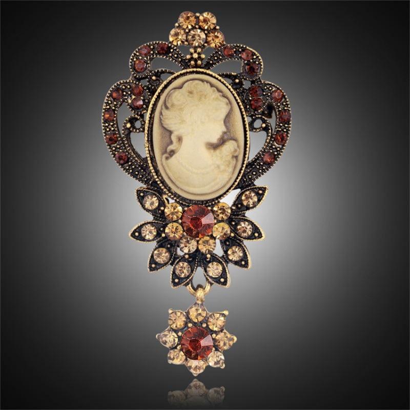Мода старинные цвета: золотистый, серебристый Винтаж брошь Шпильки женского ювелирного бренда Queen Камея Броши горный хрусталь для Для женщин Рождественский подарок