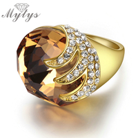 Champagne Luxury Ring Spiral Shape Pave Setting Crystal 18k Yellow Gold GP Cocktail Rings For Women