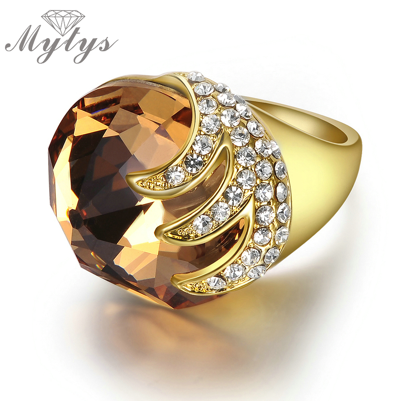 Mytys Champagne luxury ring spiral shape pave Setting Crystal Yellow Gold GP cocktail rings for women R410