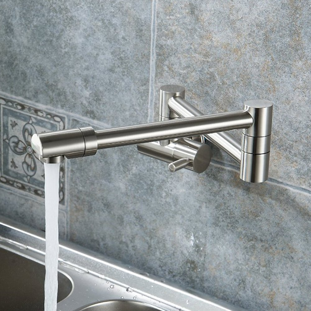 Lead Free Articulating Kitchen Faucet SUS 304 Stainless Steel Pot Filler Double Joint and 360 Degree