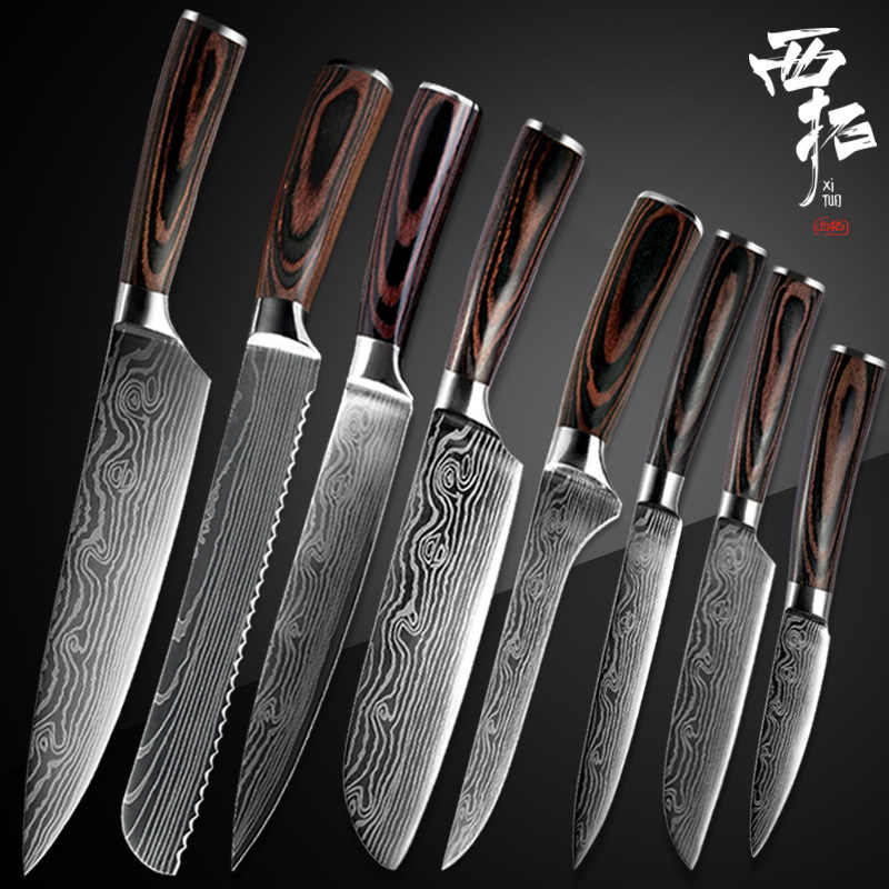 XITUO kitchen chef knife boning knife Japanese Paring Santoku laser Damascus pattern color wooden handle handle kitchen tool new