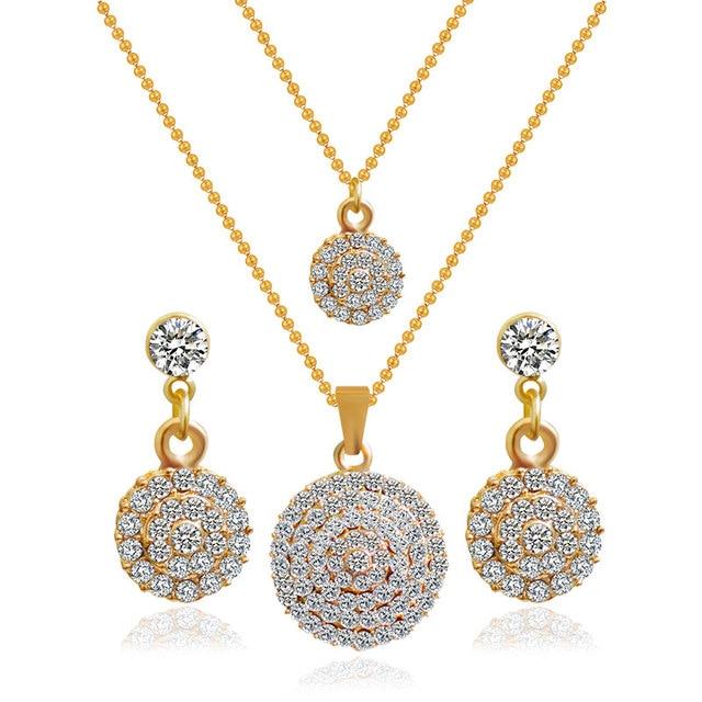 F&U 2015 Women bridal Wedding Jewelry Sets Charm Crystal Water Drop Pendant Necklaces Earrings Sets Shininy Zircon bijoux femme