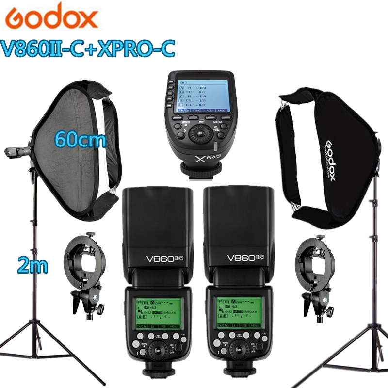2x Godox V860IIC Flash Speedlite + Xpro-C Trigger Photo Studio kit 60*60cm Softbox 2 S-type Holder 2 Light Stand Photography Kit xixu 2 60cm