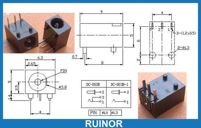 500pcs 3.5mm x 1.3mm DC Sockets Jack PCB Charger Power Plug on
