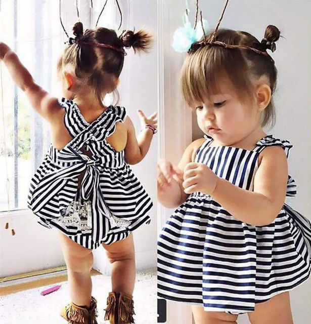 0-24M Newborn Baby Girls Clothes Infant Kids Summer Striped Dress Top +  Briefs 2pcs Outfit Toddler Kids Clothing Set e2a0966e7