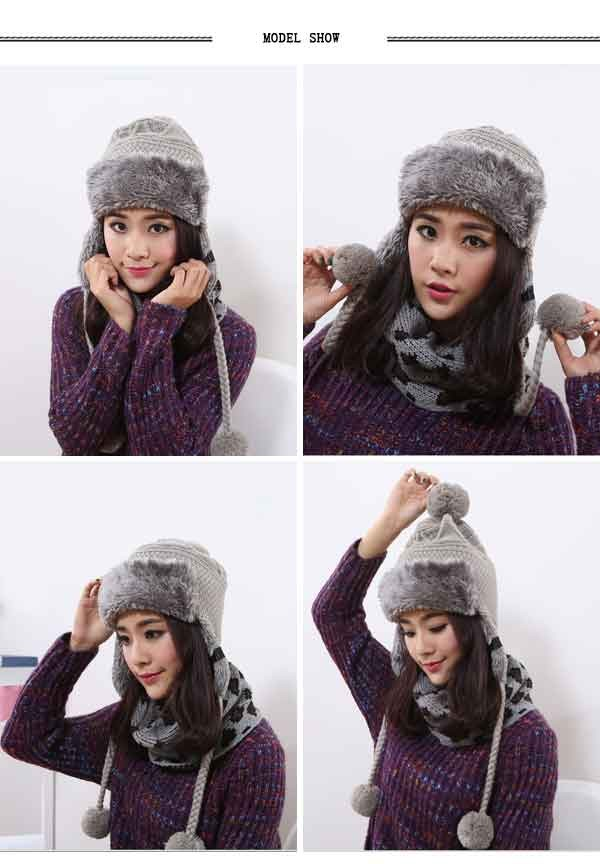 2016 Winter Warm Thick Women Knitted Fur Hat Knitted Fur Cps Lady Winter Warm Charm Beanies Caps Female Headgear  (9)
