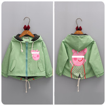 2-8 Yrs girl Atumumn Caot Jacket baby girl Cartoon outerwear brand kid children clothes  Zipper Hooded Spring and Autumn