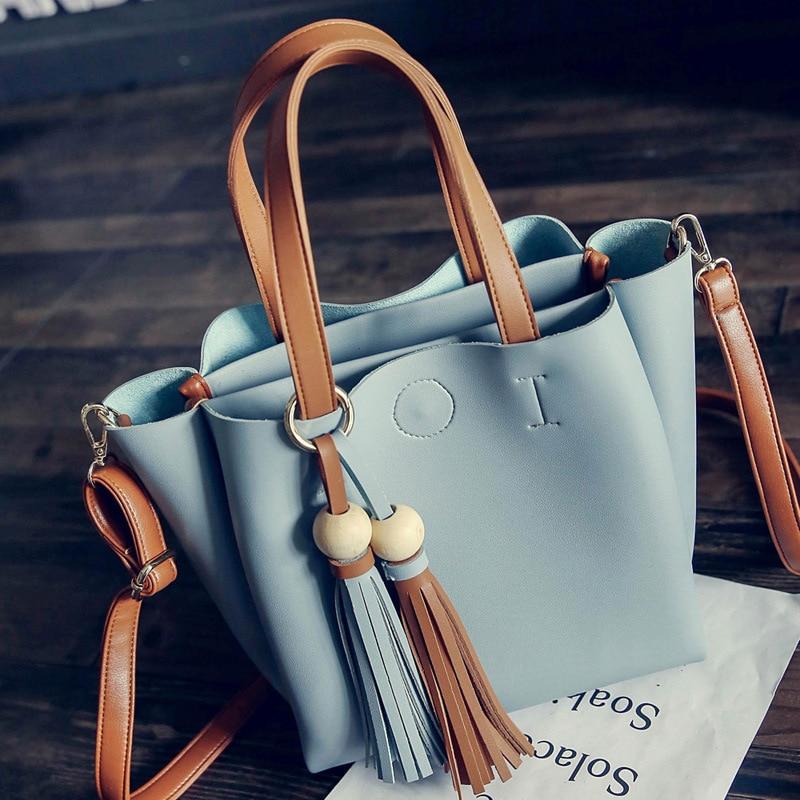 Handbags Korean Tassel Big Bag Autumn New Women Bags Hit Color Female Package Fashion Leisure Single Shoulder Handbag