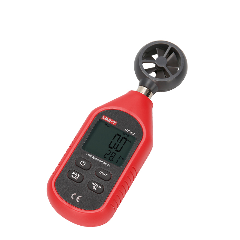 Anémomètre numérique portable UT363, mesure de la vitesse du vent, testeur de température, affichage LCD, débit d'air, compteur de vent