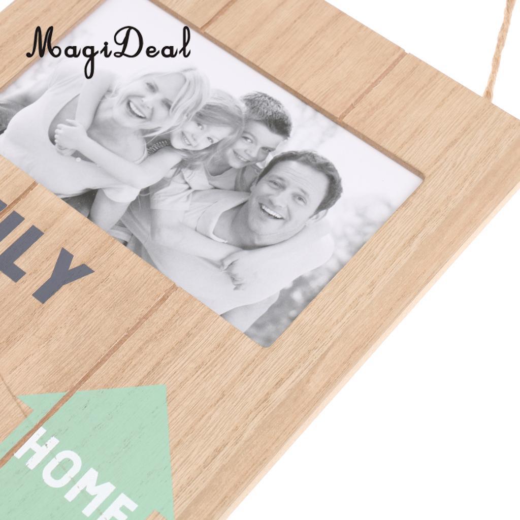 MagiDeal Grün Haus Holz Familienbilderrahmen Wandbehang Bild Halter ...