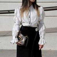 Vintage Buttons Puff Sleeve White Linen Blouses Womens 2018 Autumn High Quality Runway Tops Elegant White Shirt Women