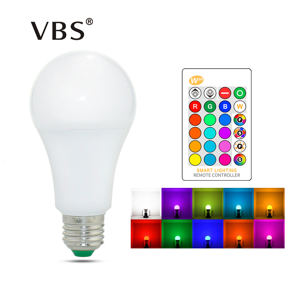 E27 E14 LED Bulb RGB Lamp 110V 220V 3W 5W 10W 15W RGBW RGBWW Dimmable RGB LED Spot Light Bulb 16 Colors With IR Remote Control
