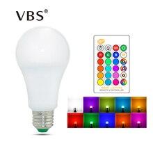 E27 E14 LED 전구 RGB 램프 110V 220V 3W 5W 10W 15W RGBW RGBWW RGB LED 전구 16 색 IR 원격 제어 침실 장식