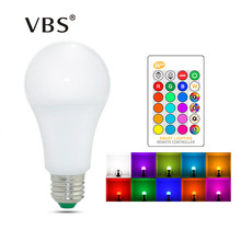 E27 E14 LED Bulb RGB Lamp 110V 220V 3W 5W 10W 15W RGBW RGBWW Dimmable RGB LED Spot Light Bulb 16 Colors with IR Remote Control(China)