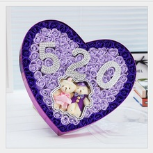 Hot sale creative style 520 heart-shaped rose soap flower and teddy bears gift box for romantic wedding gifts free shipping