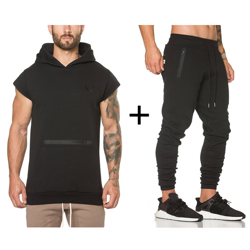 2019 Mens Gyms Sportswear Suit Tight Workout Elasticity Casual Sleeveless Hoodies+Pants Cotton Trainings Fitness SportSuit