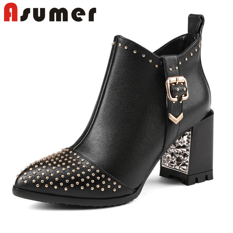 ASUMER FASHION 2018 unique pointed toe ankle boots for women classic black adult high heels boots zip sexy genuine leather bootsASUMER FASHION 2018 unique pointed toe ankle boots for women classic black adult high heels boots zip sexy genuine leather boots