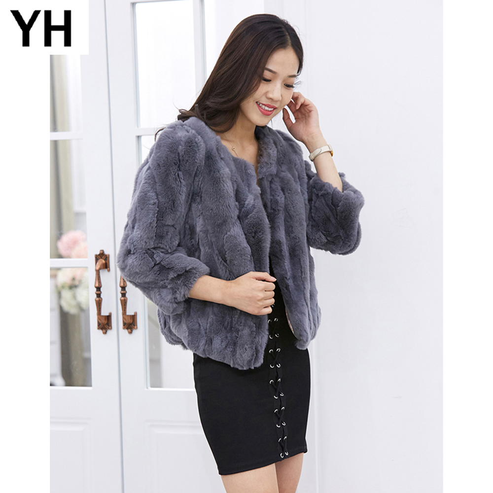 Lady Real Rex Rabbit Fur Coat Hot Genuine Real Rex Rabbit Fur Short Style Jacket Women