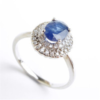 Fashion 925 Sterling Silver Jewelry Rings For Women Size 6.75 Genuine Natural Blue Gems Bead Engagement Wedding Ring