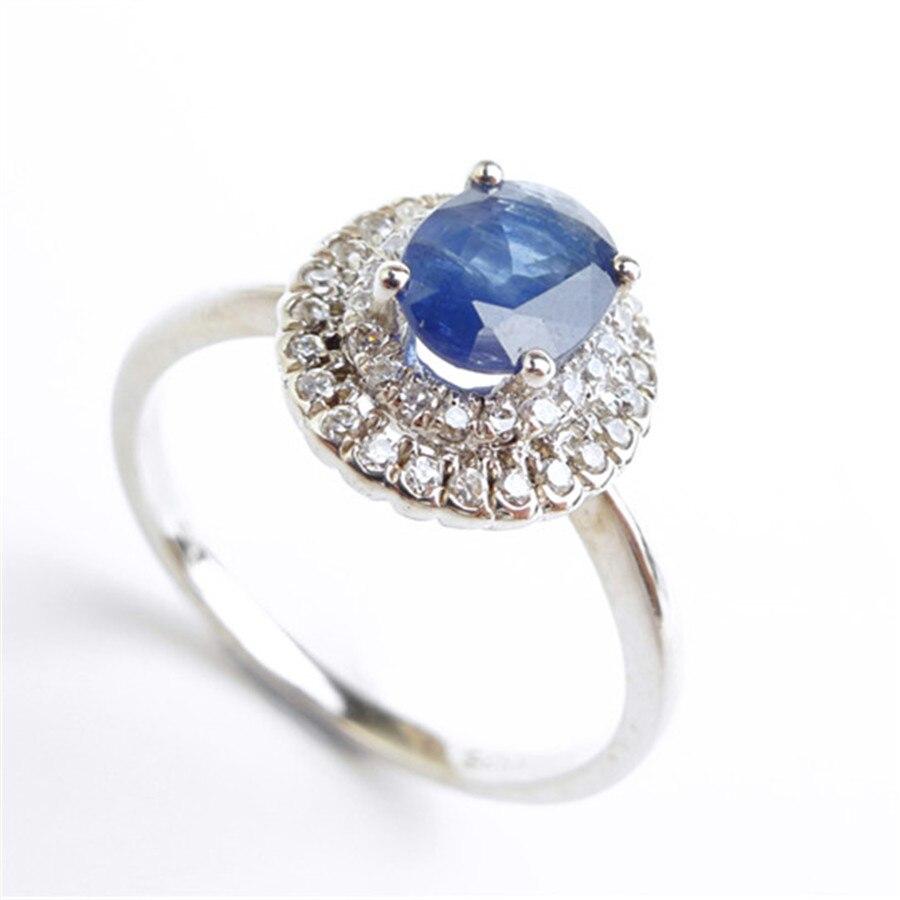 Mode 925 bijoux en argent Sterling bagues pour femmes taille 6.75 véritable naturel bleu gemmes perle de fiançailles bague de mariage