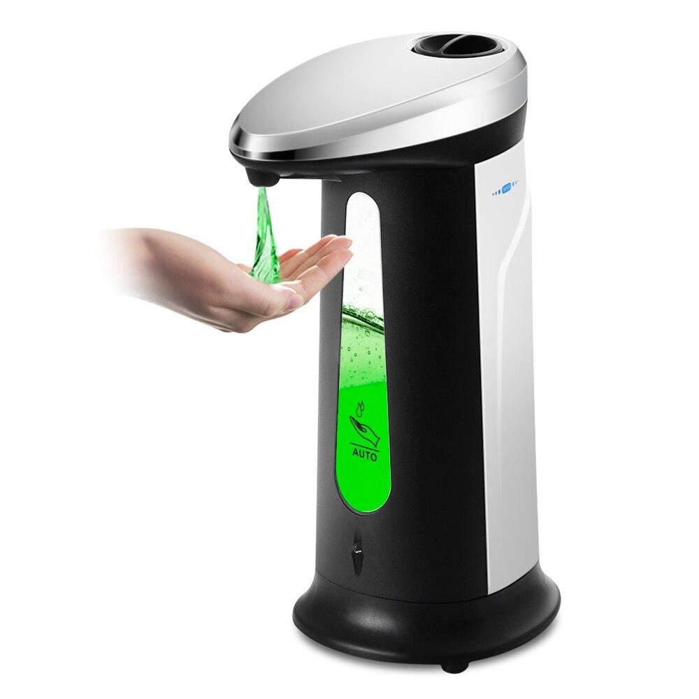Venta caliente dispensador automático de jabón líquido de 400 ml ABS dispensador de jabón desinfectante sin contacto galvanizado para la oficina del baño de la cocina
