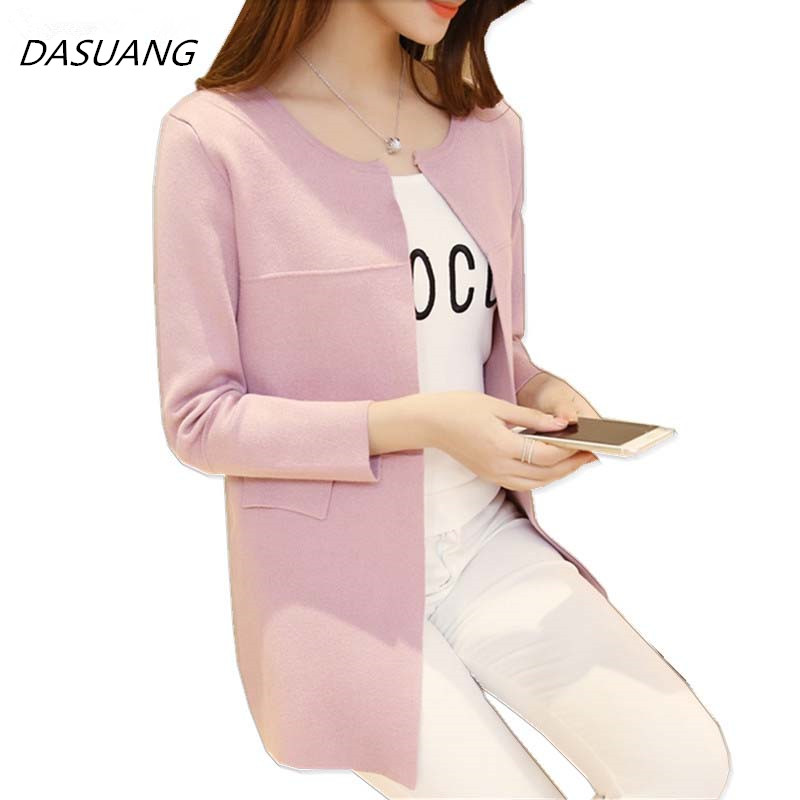 DASUANG Long Cardigan Women 2018 New Fashion Autumn Winter Sweater Women Long Sleeve Knitted Cardigan Female Tricot Clothes H058