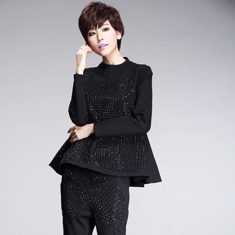 Stand cou hauts mode Bling t-shirts manches longues trou coton lâche mode t-shirt pour femme doux nouveau décontracté Cool t-shirts A67Z20