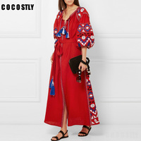 2018 Summer dress vintage party dress women's fall boho embroidery Bohemian split maxi long dresses people hippie loose dress