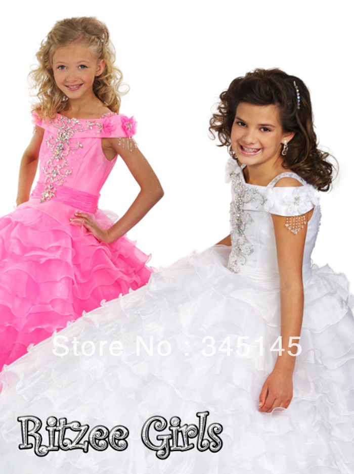 Hot Selling Ball Gown Spaghetti Straps Floor Length Tiered Organza Short Sleeve Pageant   Dresses   For   Girls     Flower     Girl     Dresses