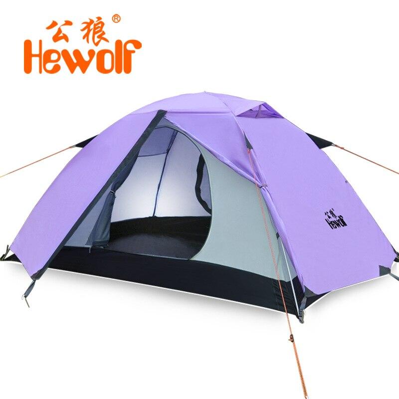 Hewolf 2017 nouvelle tente extérieure professionnelle double pont équipement de camping de haute qualité saisonnière ignifuge camping 2.7 kg GL1595