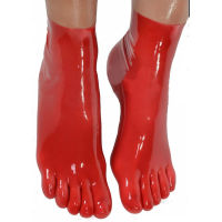 sexy lingerie Sexy Red Latex Rubber Toe Socks Unisex Hosiery Socks