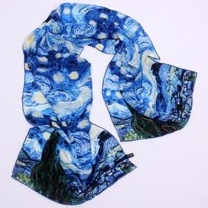 Image 3 - 46 Designs 2019 Van Gogh Oil Painting Silk Scarf Women & Men Scarf 100% Real Silk Scarves Female Luxury Designer Scarves