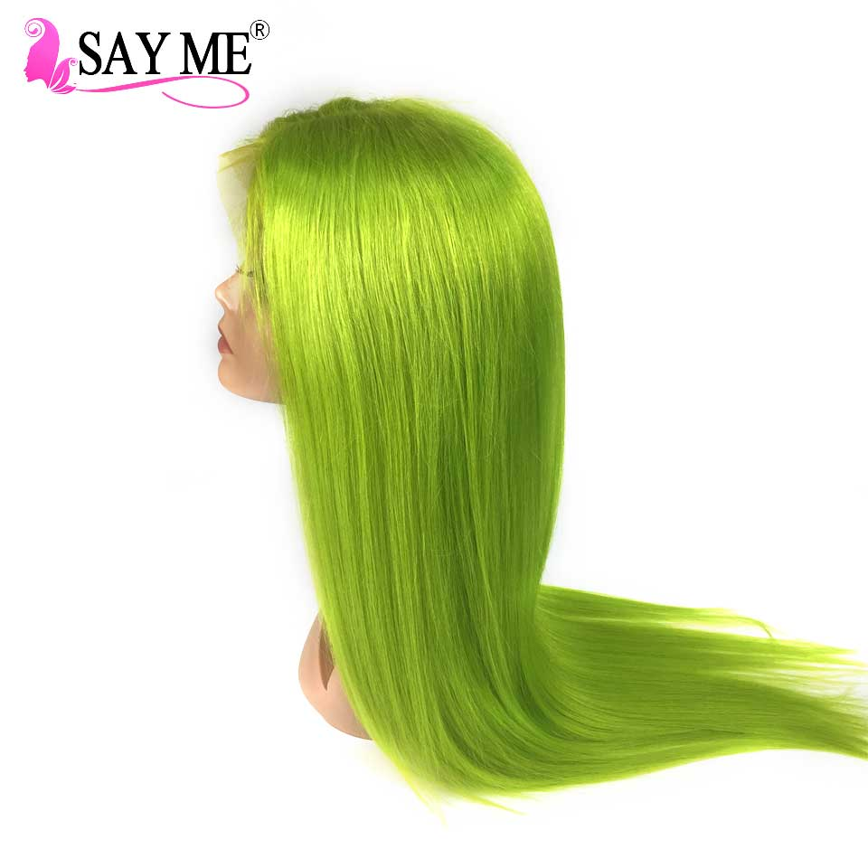 Apple Green Remy Lace Front Human Hair Wigs Pre Plucked Long Colored Human Hair Wigs Brazilian