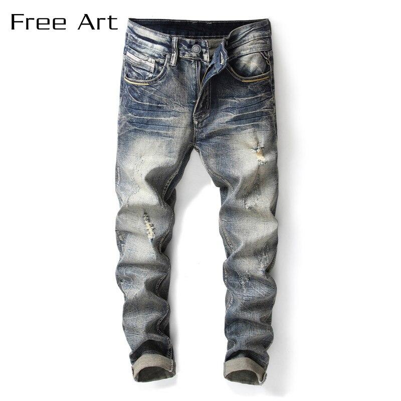 Solid Slim Straight Stonewashed Plaid Full Length Freeshipping 2018 Fashion Retro Microelastic Jeans Men Fear Of God Top